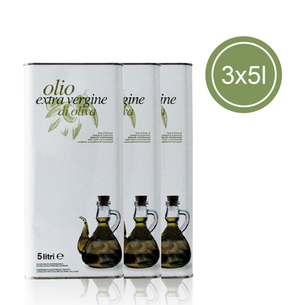 ORGANIC EXTRA VIRGIN OLIVE OIL 5 Oil cans - 3 L